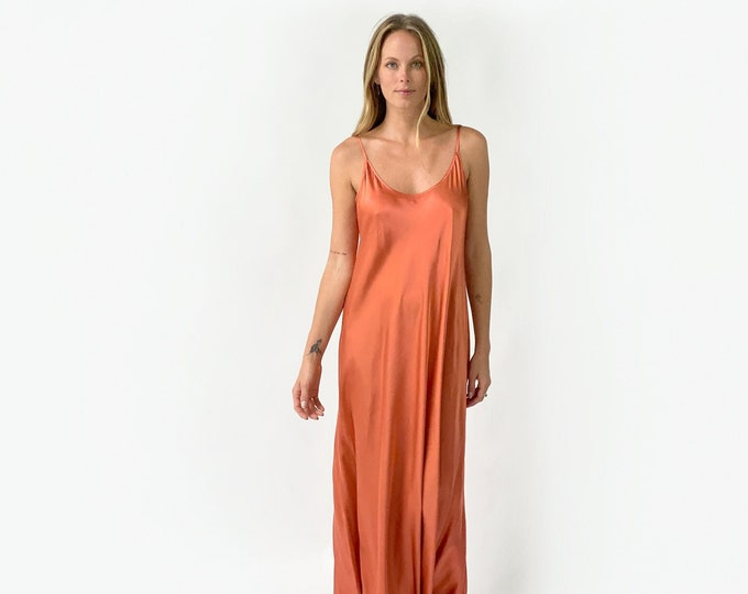 Silk Charmeuse evening dress, bridesmaid dress- RUST color