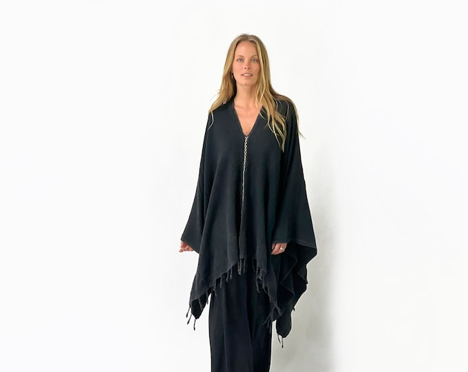 Hand stitched, Turkish towel, Poncho, WASHED black color