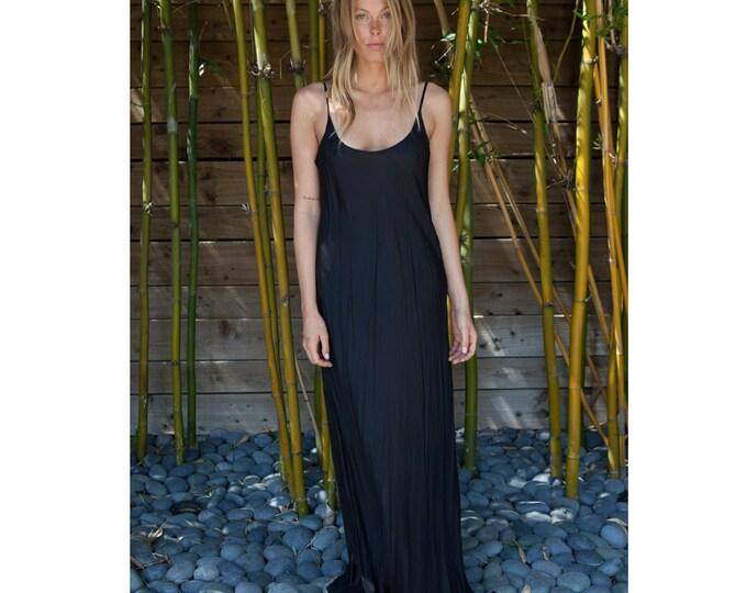 HEAVY WEIGHT, Not sheer Black silk slip bias dress