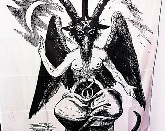 baphomet occult satanic ritual altar flag