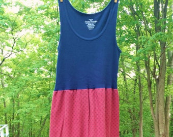 Upcycled Pillowcase Dress - Boho Dress - Red and Navy Sundress, Summer Dress, Repurposed dress