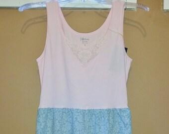 Upcycled Pillowcase Dress - Boho Dress - Festival Clothing - Pink and Light Blue Sundress, Summer Dress, Repurposed dress