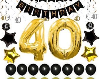 40th BIRTHDAY DECORATIONS For MAN Balloons Decor Supplies Banner Ideas 40 Year Old Men Woman Him Her 38 Gold Swirls 36 Pc Pk