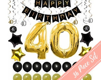 40th BIRTHDAY DECORATIONS For MEN Woman Him Her Balloons Party Decor Banner Ideas 40 Year Old Men 38 Gold Swirls 36 Pc Pk
