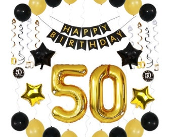 50th BIRTHDAY PARTY DECORATIONS Balloons Ideas Supplies 50 Year Old Man For Him Her Birthday Banner 38 Gold Swirls 36 Pc Pk