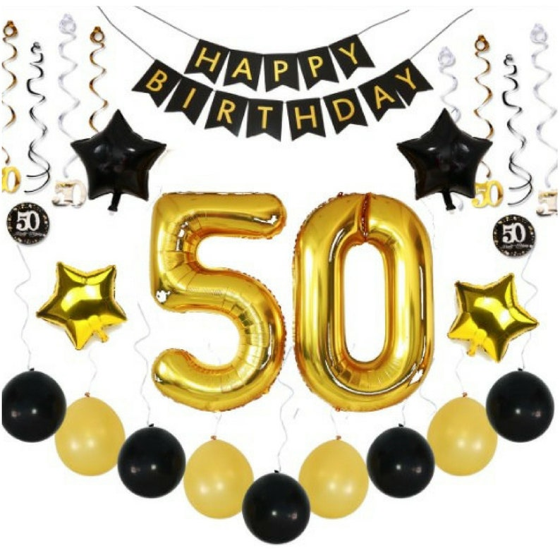 50th BIRTHDAY PARTY DECORATIONS Balloons Banner Ideas Decor 50 Year Old Men Woman Him Her 38 Gold Swirls 36 Pc Pk