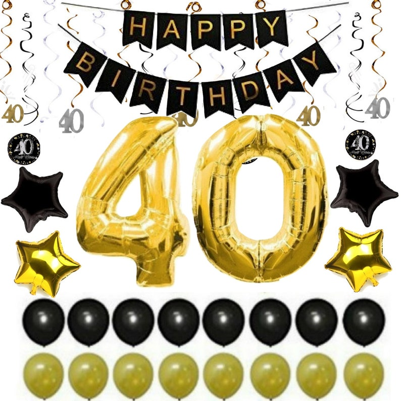 40th BIRTHDAY PARTY DECORATIONS Balloons Decor Supplies Banner Ideas 40 Year Old Men Woman Him Her 38 Gold Swirls