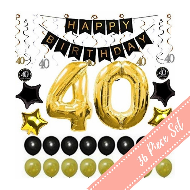 40th BIRTHDAY DECORATIONS For MAN Woman Him Her Balloons Party Decor Banner Ideas 40 Year Old Men 38 Gold Swirls 36 Pc Pk