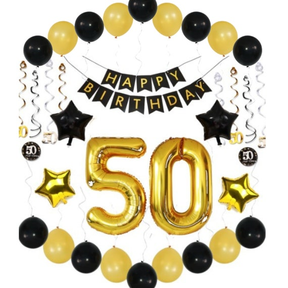 50th BIRTHDAY PARTY DECOR Balloons Banner Decorations Ideas