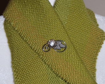 Handwoven Scarf, Hand woven Scarf, Hand made Scarf, Lime Green Scarf, Handwoven by Blind Sparrow