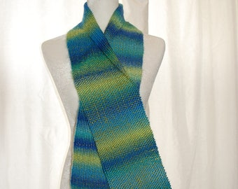 Handwoven Scarf, Hand woven Scarf, Blue and  Lime Green Scarf, Handmade Scarf, Handwoven by Blind Sparrow