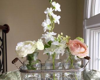 Beautiful spring stem glass trio in wire rack