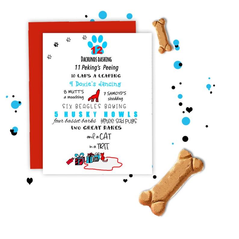 WHOLESALE 12 days of Christmas Dog Card  Christmas Card Funny image 0