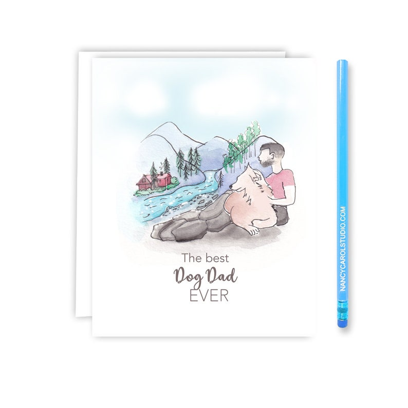 Dog Fathers Day Card  Dogs Dad Card  Birthday Card  From image 0