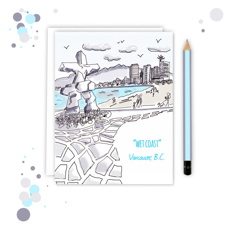 Funny Vancouver Card  Illustrated Card   English Bay image 0