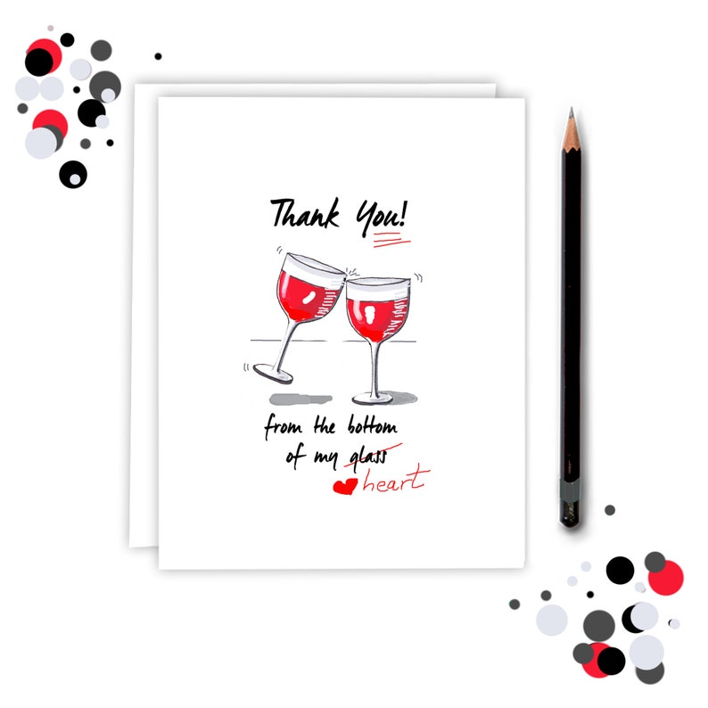 Thank You Card with Wine glasses  thank you cards pack  image 0