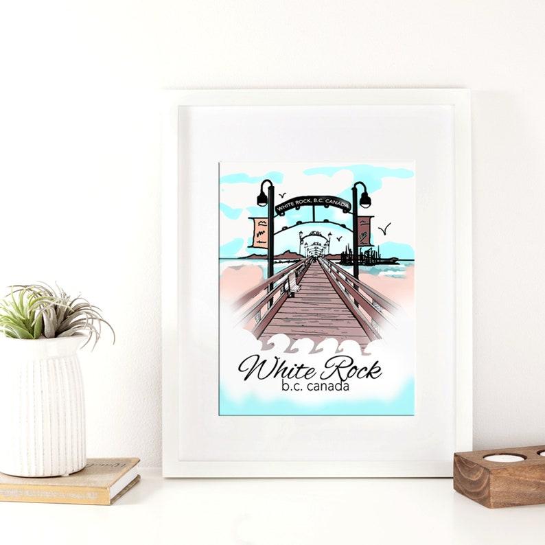 WHOLESALE  White Rock Print  Wooden Pier   BC Canada Art  image 0