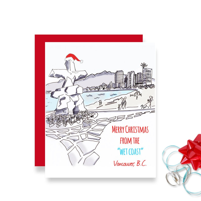 Vancouver BC Funny Christmas Card with Inukshuk image 0