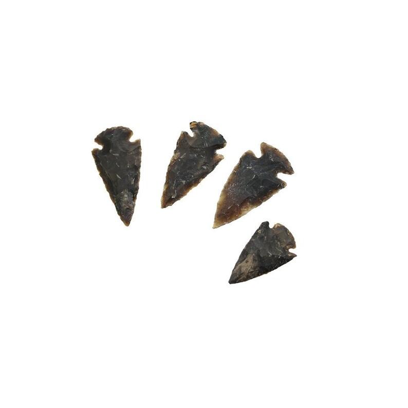 4 pieces Midnight Black Brown Agate Arrowheads 1-2