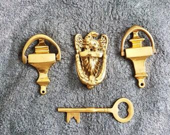 Set Of 3 Small Door Knockers And Key,Brass Door Knocker,Vintage Brass,Brass Door  Knocker,Vintage,Classic Door Knockers,cast Brass Knockers