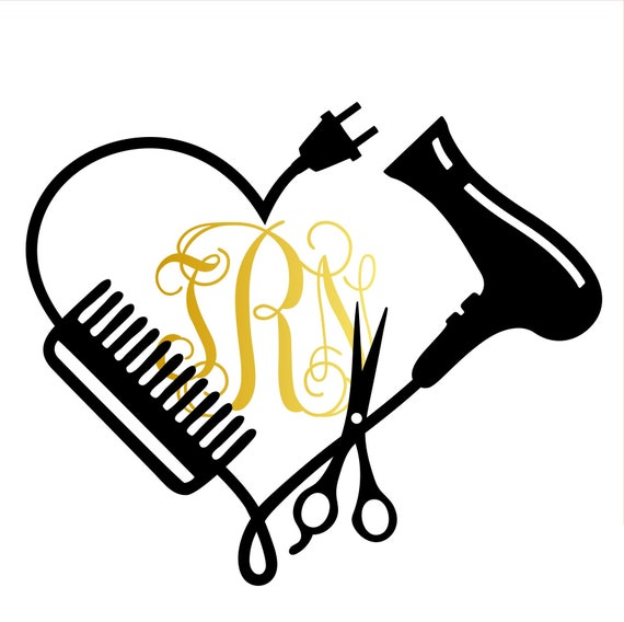 Hair Stylist Heart Monogram Vinyl Decal Custom Hair Stylist
