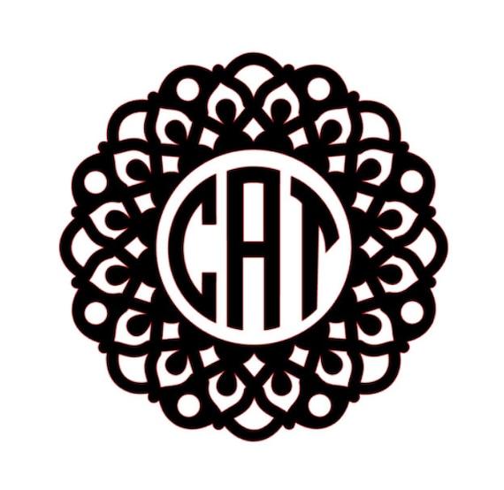 Mandala Flower Monogram Vinyl Decal Custom Car Decal Personalized 3 Letter Monogram Diy Sticker Personalized Decal