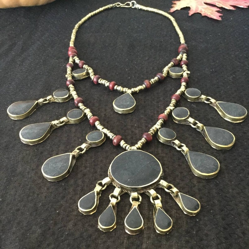 ethnic tribal fusion necklace tribal fusion natural stone necklace black necklace kuchi necklace Halloween dark fusion wicca punk
