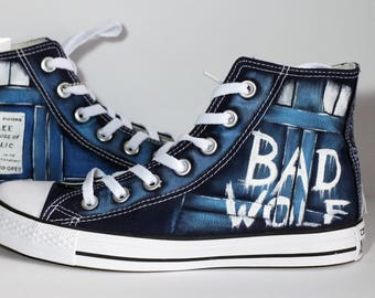 "Handmade The Bad Wolf ""Doctor W."" Inspired converse shoes Blue UNISEX Sizes! check the table"