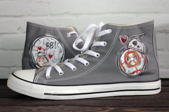 New sizes! Handmade BB 8 StarWars inspired converse Gray