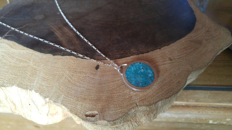 Beautiful Blue Sterling Chain Turquoise Inlay Sterling Silver Handmade Necklace 24 Inch Chain