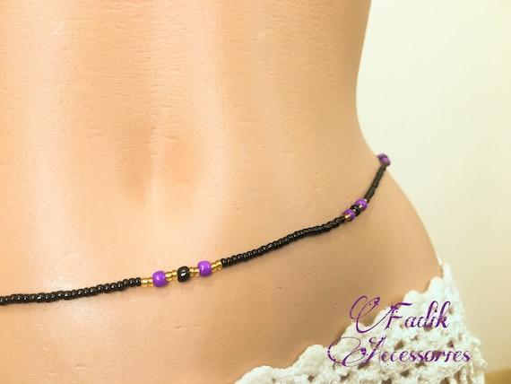 Black Purple Gold Waist Beads Body Jewelry Belly Bead Waist Etsy