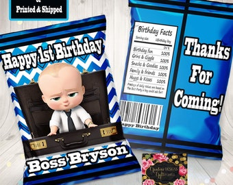 The Boss Baby Favor Bag/ The Boss Baby Invitation/The Boss Baby Birthday/ The Boss Baby Party/ Favor Bag/ The Boss Baby Chip Bag/ Free Ship