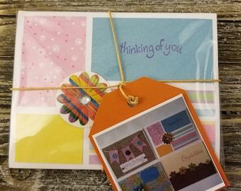 Cute Greeting Cards 4-Pk, Handmade Blank Inside, Envelopes Included