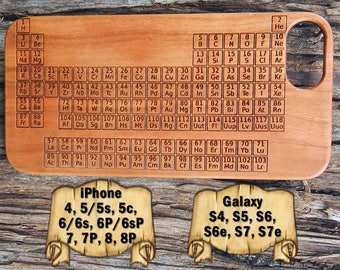 Periodic table case etsy periodic table iphone 88p 77p 66s 6p6sp 55s5c 44s galaxy s7s7e s6s6e s5 s4 laser engraved wood phone case urtaz Images
