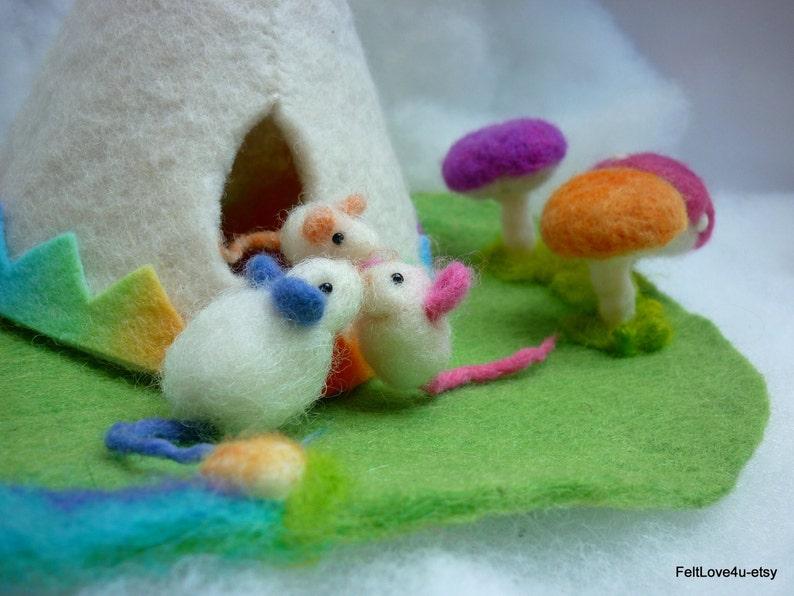 Rainbow Tipi\u00a9 Wool Felt 20cm Gemstone Creek 3 Toadstools Fire inside. Waldorf Playscape 20 x 25cm 3 Mice Toy and Soothing Night Light