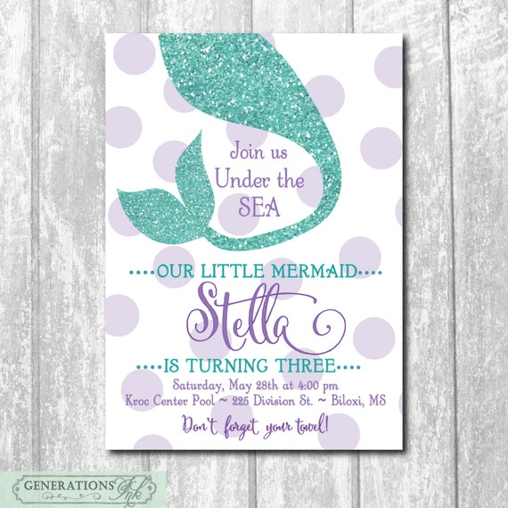 Mermaid Birthday InvitationUnder The Sea DIGITAL FILE Printable Wording Can Colors Be Changed Party Glitter Purple Teal
