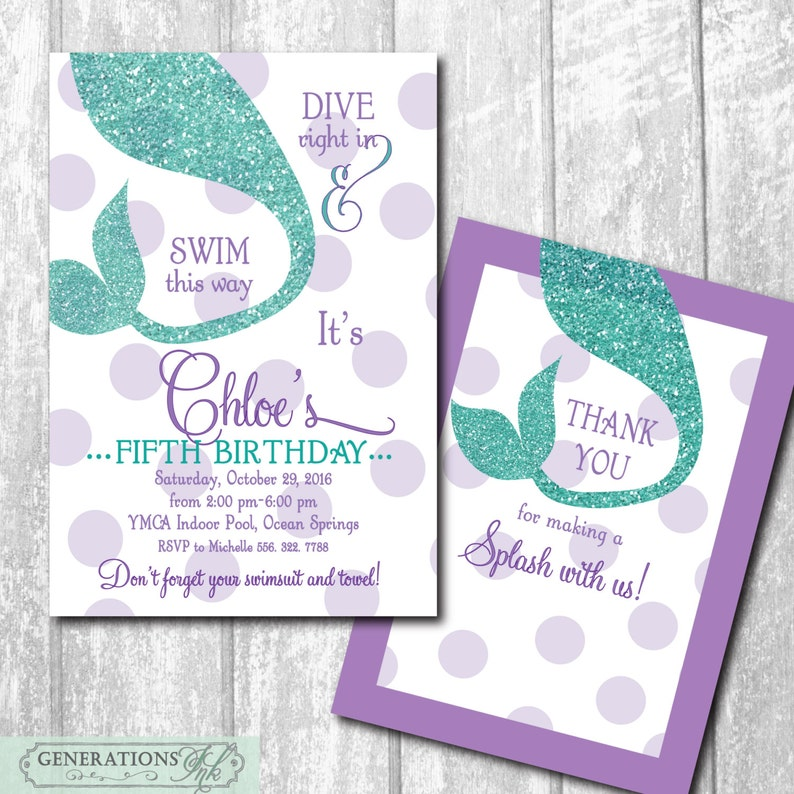 Mermaid Birthday Party Invitation With Matching Thank You Note Digital Files Or Printing Wording Can Be Changed