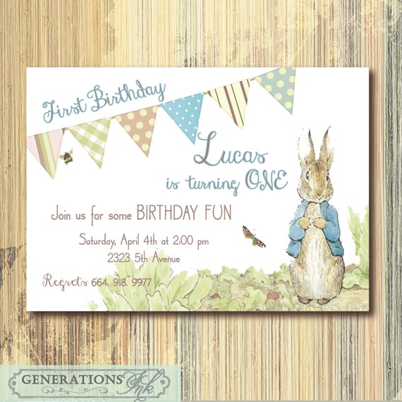 Vintage Peter Rabbit Birthday Invitation Printable Digital Etsy