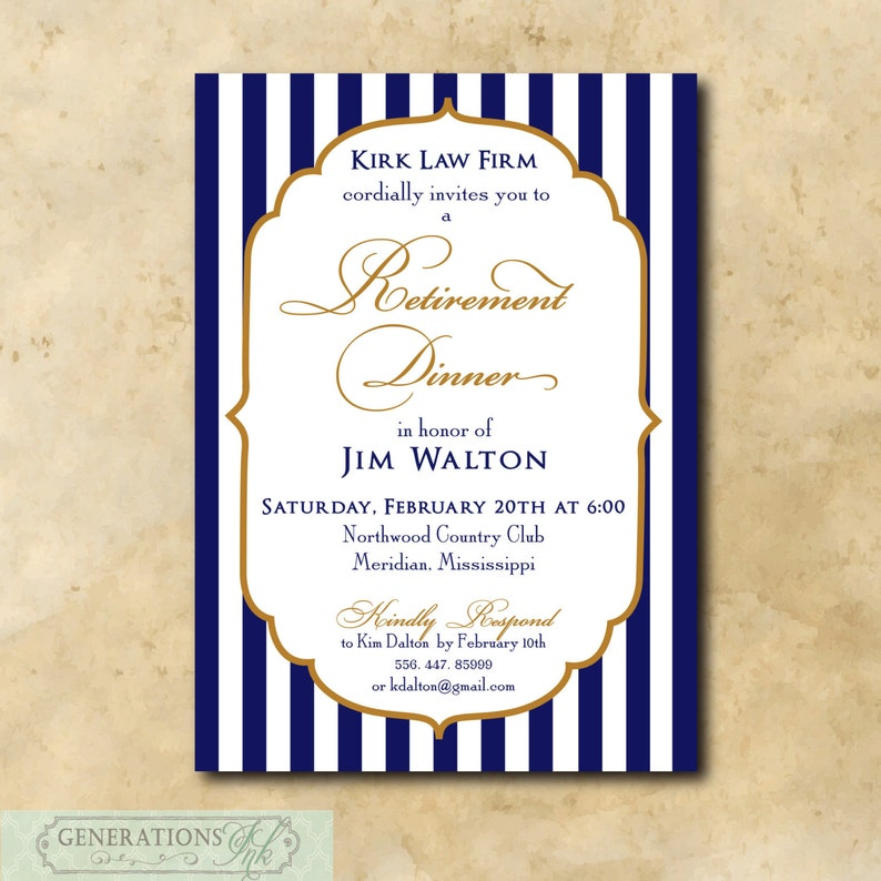 Retirement Invitation Printable Digital File Dinner Party Navy Gold Work Wording Colors Can Be Changed