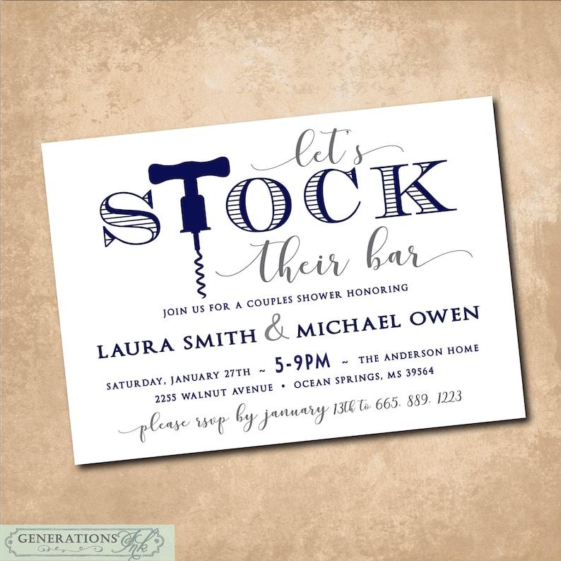 Stock The Bar Invitation Printable Stock The Bar Shower Etsy