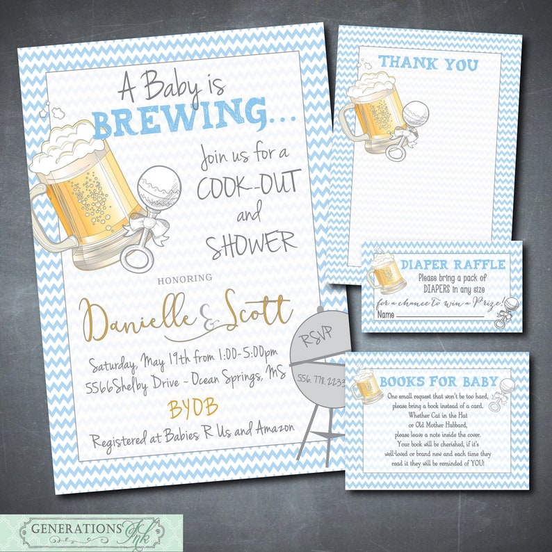 Couples Baby Shower Invitation Printable Digital Files Q Book Request Diaper Raffle Is Brewing Cookout Wording Can Be Changed