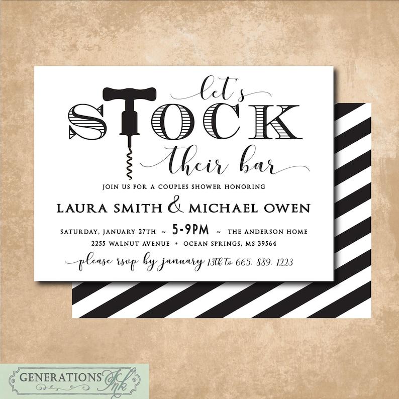 Stock The Bar Invitation Printable Digital File Couples Etsy