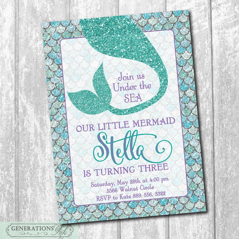 Mermaid Birthday Party Invitation Digital Printable Under The Sea Purple And Teal Glitter File Wording Can Be Changed