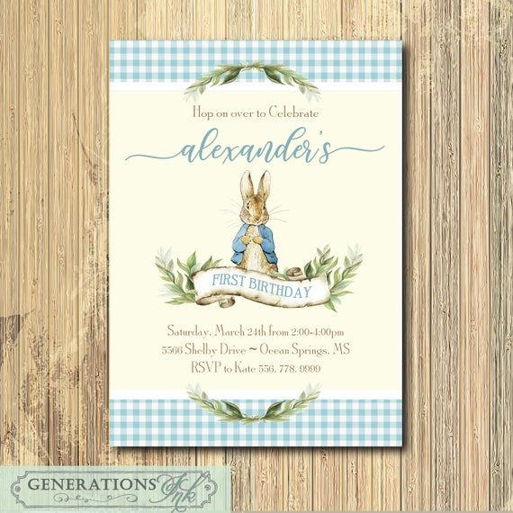 Peter Rabbit Boy Birthday Invitation Printable Digital File Vintage Peter Rabbit Some Bunny First Birthday Wording Colors Can Be Changed