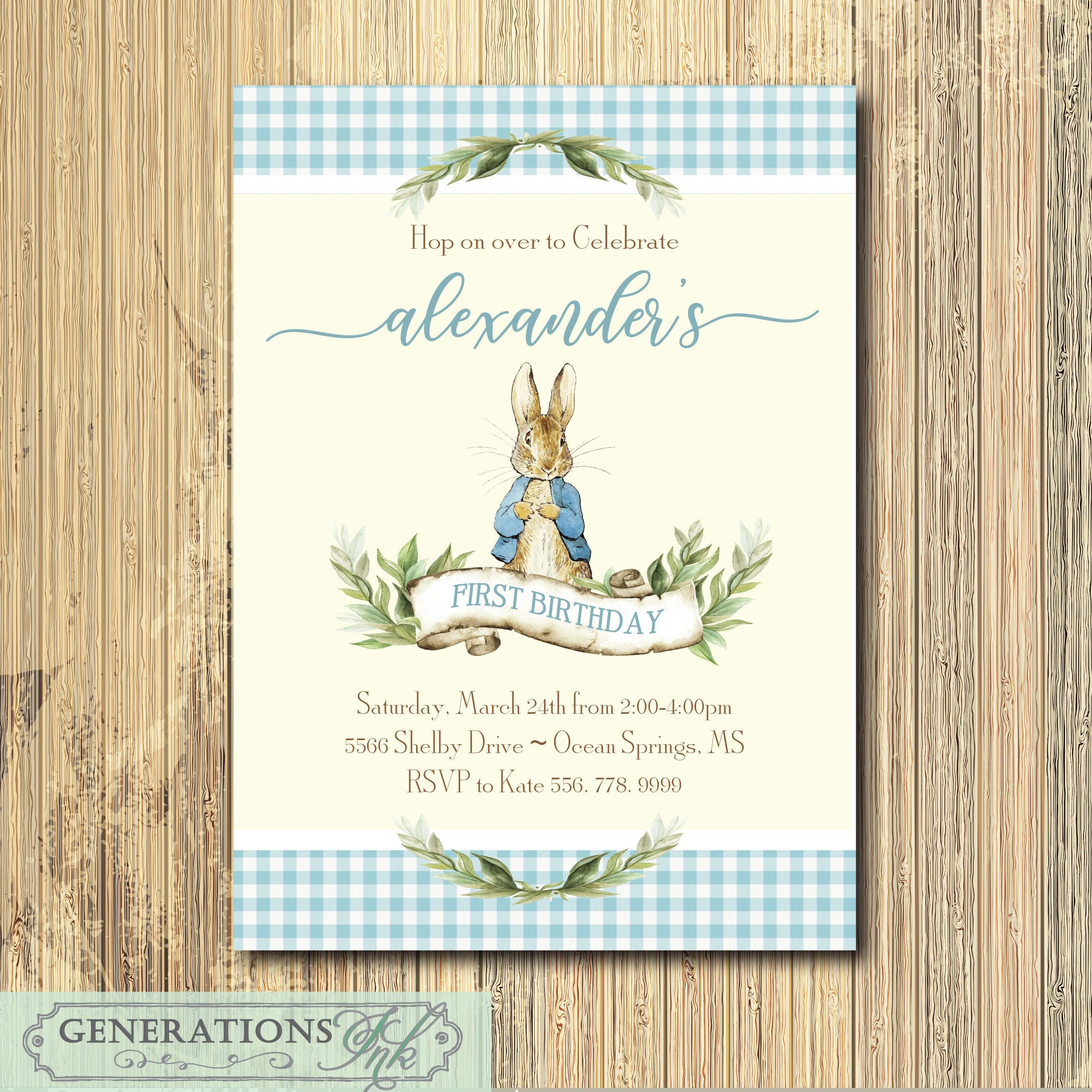 Peter Rabbit Boy Birthday Invitation printable/Digital | Etsy