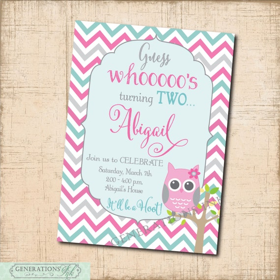 Owl Birthday Invitation Printable Digital File Girl