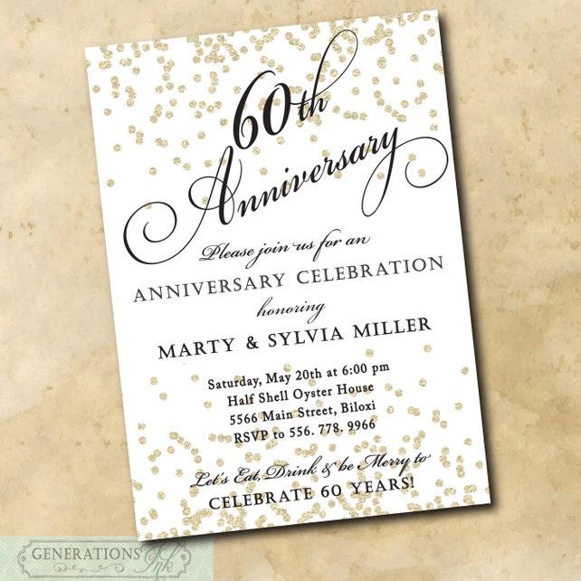 60th Wedding Anniversary Invitation Printable Digital File Party