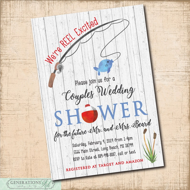 Fishing Themed Couples Wedding Shower Invitation Printable Digital File Wood Rustic Reel Excited