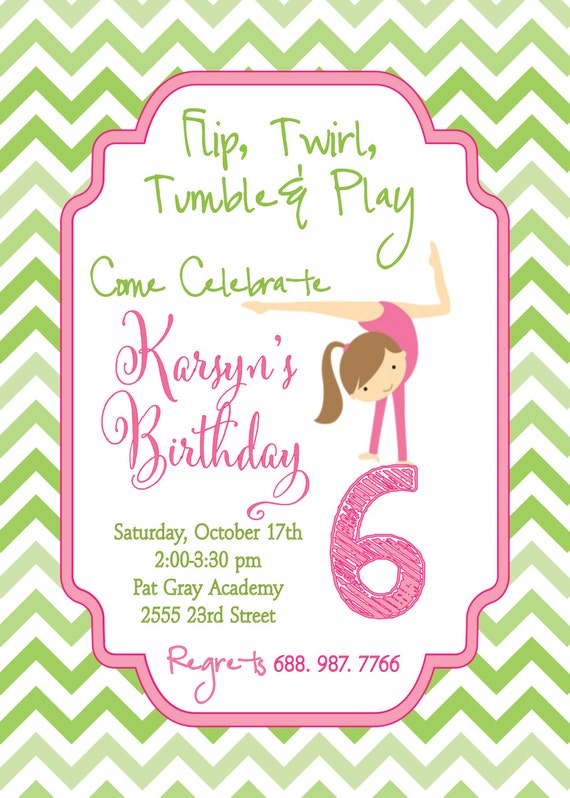Gymnastic Birthday Invitation Girl Printable Digital