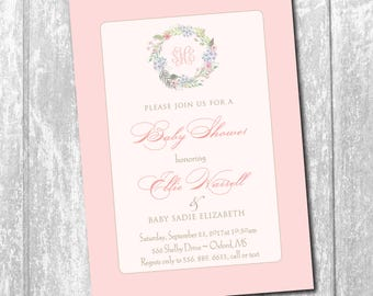 Baby Girl Shower Invitation with Floral Wreath/DIGITAL FILE/printable/wording can be changed/wreath, watercolor, girl, monogram,pink, floral
